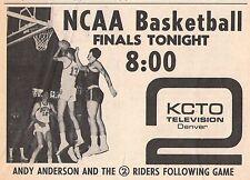 1965 KCTO tv ad ~ Andy Anderson/NCAA Basketball Finals/Colorado Buffalo's/Denver