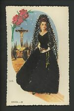 Embroidered clothing postcard Artist Iraola, Espana woman Jesus cross religious