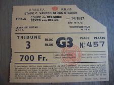 TICKET FINALE COUPE DE BELGIQUE 1987 KV MECKELEN - LUIK 14/6/87