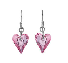 Small Heart Earrings Made with Pink Swarovski Crystals in Sterling Silver