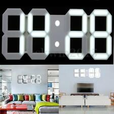 White Large 3D Modern Digital LED Skeleton Wall Clock Timer 24/12 Hour Display
