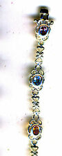 """925 Sterling Silver Mixed Faceted Oval Gemstone  Filigree Style Bracelet 7"""""""