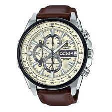 Casio Edifice EFR-549L-7B Black Ion Plated Bezel Leather Analog Watch
