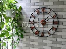 LARGE WALL CLOCK 47CM METAL INDUSTRIAL IRON VINTAGE FRENCH PROVINCIAL