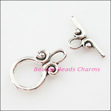 10Sets Tibetan Silver Smooth Round Circle Bracelet Toggle Clasps Connectors
