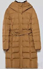 ZARA Beige Camel Long Quilted Water Repellent Anorak Puffer Coat Jacket Large L