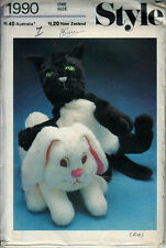 Vintage Style Crafts Sewing Pattern 1990 Fluffy Cats Puppy Dog Toy Dolls 25 inch