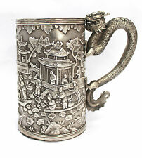 Rare Chinese Export Solid Silver Dragon Handled Mug 272g