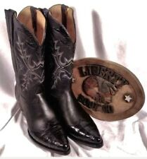 $1200Liberty Cowboy Boots CO Leather Alligator Inserts wingtip 9EE Mens siz