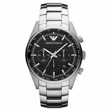Emporio Armani AR5980 Classic Black Chrono Stainless Steel Mens Watch Nuevo
