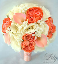 17 Piece Package Silk Flower Wedding Bridal Bouquet Decoration CORAL PEACH IVORY