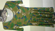 New with Tags Lularoe Nicole Dress Sz L, Large Camo Green Brown Blue Camouflage