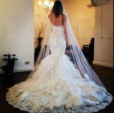 22v Elegant Bridal 3m Ivory Tulle Embroidered Lace Work Edge Wedding Veil w Comb