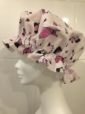 """Shower Cap Bath Hat. """"It's a Girl Thing"""". Black & Pink on White. Christmas Gift."""