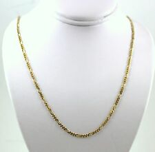 14KT ITALY SOLID Yellow GOLD  WOMEN'S 1.3mm  FIGARO LINK CHAIN NECKLACE  20""