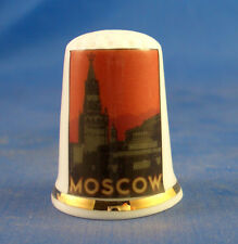 Birchcroft China Thimble -- Travel Poster Series - Moscow - Free Dome Gift Box