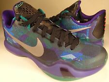 Nike Kobe X 10 Overcome Emerald Glow 3M Silver Court Purple SZ 8.5 (705317-305)