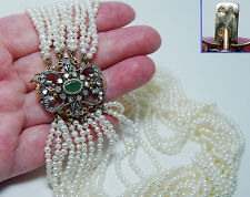 Antique 12-Strand Pearl Rose cut Diamonds Emerald Necklace 18K Gold Estate