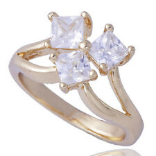 Fashion Womens Yellow Gold Filled Clear square CZ love Ring Size 8 Authentic