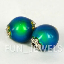 16 x 14 Magical Color Change Oval Mood Beads W/Silver designs on ends 2pcs/pack