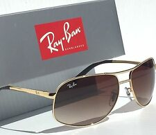 NEW* Ray Ban AVIATOR GOLD 64mm w Brown Bronze Gradient Sunglass RB 3387 001/13