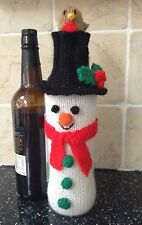 KNITTING PATTERN - Christmas Snowman Wine Bottle Cover Novelty