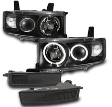 2003-2007 SCION XB BLACK PROJECTOR LED HALO HEAD LIGHT+SMOKE BUMPER FOG LAMP L+R