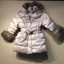 Gap Toddler Girls Faux Fur Warmest Hooded Jacket Coat,Grey/Beige SZ 4 Years