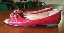 Fossil Maddox Unworn Red Leather size 10 Open Peeptoe Ballet Flats Brass Buckle