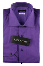 Men's VALENTINO Purple Stretch Cotton Slim Fit Dress Shirt 15.5 39 M NWT $245!