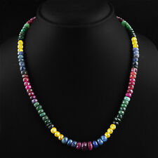 191.20 CTS NATURAL GREEN EMERALD, SAPPHIRE & RED RUBY ROUND CUT BEADS NECKLACE