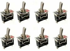 Lot of 8 SPST ON/OFF Toggle Switches 20amp 1/2 Mount