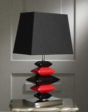 Modern Contemporary Black and Red Pebbles Table Lamp