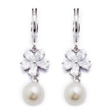 Vogue White Cubic Zircon White Gold Plated Pearl Drop Earrings