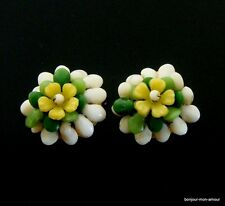 Vintage shabby Plastik Blumen Ohrclips Ohrringe Hong Kong sign. Plastic Earrings