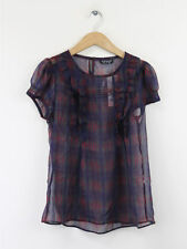 BNWT Topshop Womens Purple Check Sheer Ruffle Blouse Size 8