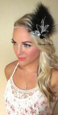 Black Silver Leaf Feather Flapper 1920 Hair Head Band Choochie Choo Great Gatsby