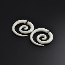 Hand Carved Buffalo Bone Fake Spiral Faux Gauging Cheater Lobe Stretcher Earring