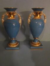 Pair of Robins Egg Blue Noritake Vintage French Style Urn vases M in wreath mark