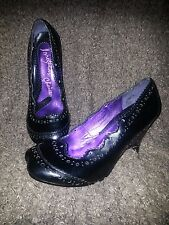 """Collectible """"IRREGULAR CHOICE"""" Hoof Toe/Cloven Wedge-Black Leather Oxfords-NWOB"""