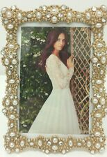 NEW GOLD Diamonds and PEARLS Jeweled  Wedding Picture Photo Frame 4x6 ANTIQUE