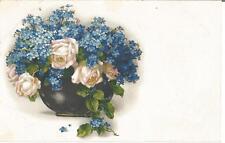 Blumen, Rosen und Vergissmeinicht, Künstlerkarte von Meissner & Buch, Serie 2393