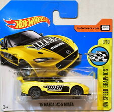 HOT WHEELS 2017 HW SPEED GRAPHICS '15 MAZDA MX-5 MIATA #9/10 YELLOW SHORT CARD