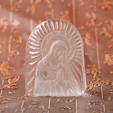 Vintage Clear Jesus Crystal Art Glass Paperweight Figurines Collection Ornaments