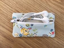 Handmade Earphone Earbud Case Made With Cath Kidston Blue Woodland Rose Fabric