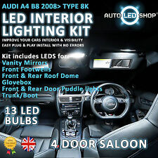 Audi A4 B8 Saloon 2008 & gt Led Interior Upgrade Kit Completo Conjunto De Bulbo Xenon Blanco