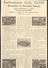 54 NANCY ETS EMILE CAHEN MANUFACTURE BONNETERIE 1923