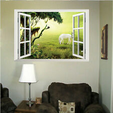 1x Home Decor 3D Window Tree Grassland Horse View Scenery Art Wall Sticker Decal