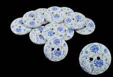 10 Large Wooden Round Blue and White Pattern Buttons 30mm, Craft, Sewing BU1062
