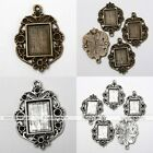 10x Tibetan Silver Flower Rectangle Photo Picture Frame Charms Pendant Findings